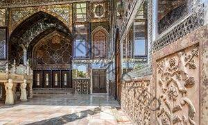 You have to go … Golestan Palace, Tehran. Image shows intricate carvings and marble table.