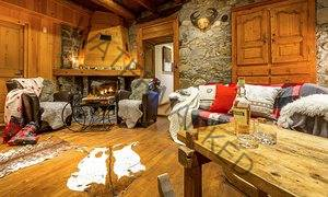 Sitting room with open fire in an AliKats chalet.