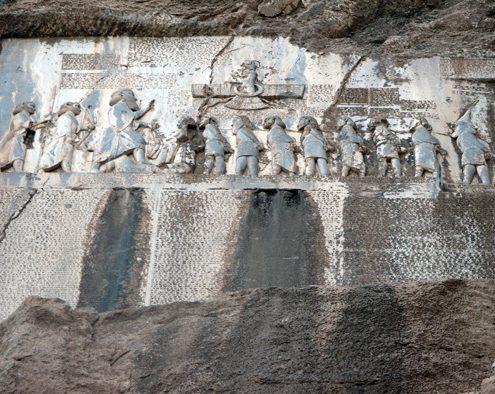 A closer view of Achaemenian inscription & relief at Bisotun